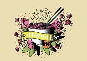 Noodles Food Tattoo Art vetor