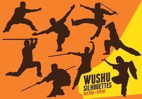 Silhuetas de Wushu vetor