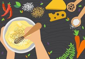 Bacia de mistura e área de trabalho de culinária vetor