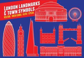 Marcos de Londres e símbolos da cidade vetor