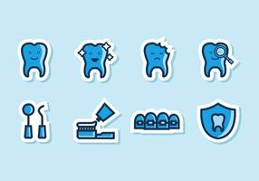 Vetor de ícones dentários engraçado engraçado