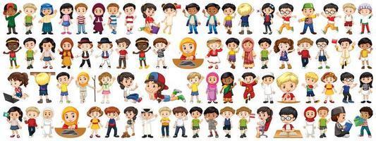 conjunto de filhos de diferentes nacionalidades