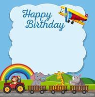 modelo de moldura de cartão de feliz aniversário vetor