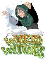 logotipo das bruxas malvadas isolado no fundo branco vetor