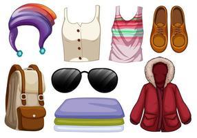 conjunto de roupas e acessórios de moda vetor
