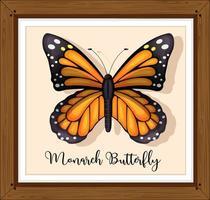 borboleta monarca em moldura de madeira vetor