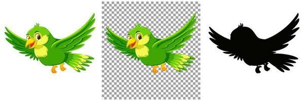 personagem de desenho animado de pássaro verde vetor