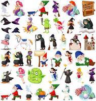 conjunto de personagens de desenhos animados de fantasia vetor