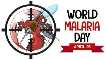 dia mundial da malária com sinal de mosquito vetor