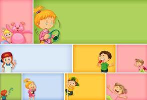 conjunto de diferentes personagens infantis na cor de fundo vetor