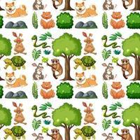 animais selvagens e árvores sem costura padrão vetor