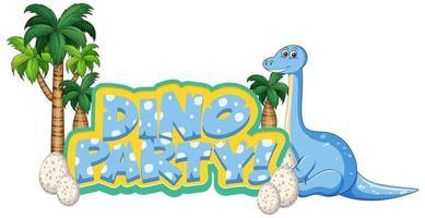 festa de dinossauro com apatossauro e ovos vetor