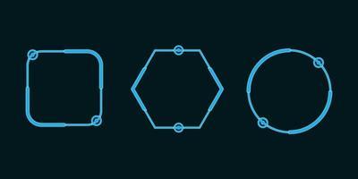 conjunto de formas de tecnologia neon azul