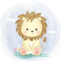 desenho de leão fofo sentado na grama vetor