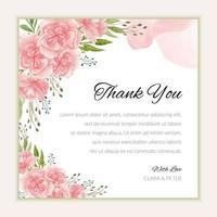modelo de cartão de agradecimento nupcial com flor de cravo em aquarela vetor