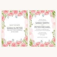 cartão de convite de casamento floral cravo em estilo aquarela