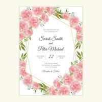 cartão de convite de casamento com flor de cravo em aquarela