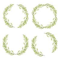 coleção de moldura de círculo de folha verde em aquarela vetor