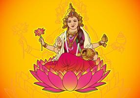 Deusa Hindu Lakshmi vetor