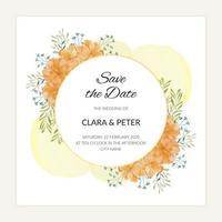 cartão floral salvar a data em estilo aquarela dourado