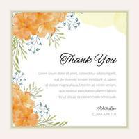 cartão de agradecimento de casamento com enfeite de flor em aquarela vetor