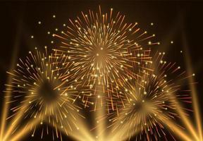 fundo festivo de fogos de artifício dourado vetor