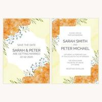 cartão de convite de casamento com ilustração em aquarela de flores douradas