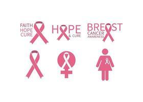 conjunto gráfico de conscientização do câncer de mama vetor