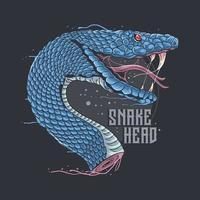 design de cabeça de cobra phyton azul vetor