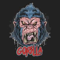 desenho de rosto de gorila zangado