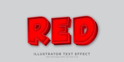 design de efeito de texto em negrito vermelho vetor