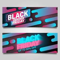 conjunto de modelo de banner preto sexta-feira rosa e azul vetor