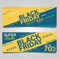 Conjunto de banner preto e amarelo conceito de sexta-feira vetor