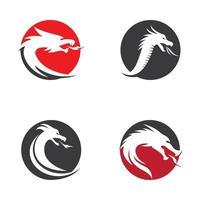 conjunto de cabeça de dragão vetor