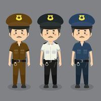 personagens policiais vestindo vários uniformes vetor
