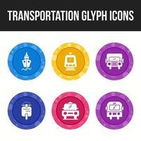 transporte conjunto de ícones exclusivos de 6 glifo vetor