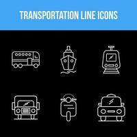 transporte conjunto de ícones exclusivos de 6 linhas vetor
