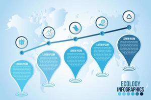 modelo de infográficos ecológicos com gotas de água vetor