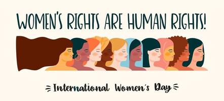 pôster do dia internacional da mulher com diversas mulheres vetor