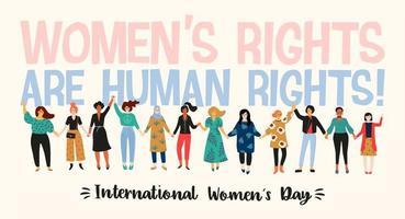 dia internacional da mulher com mulheres multiculturais vetor