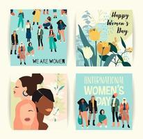 mulheres abstratas com cartões de cores de pele diferentes vetor
