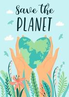 pôster do dia da terra para salvar a natureza vetor