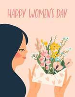 mulher segurando uma carta com flores para o dia da mulher vetor