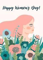 cartão floral fofo do dia internacional da mulher