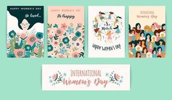 cartões do dia internacional da mulher vetor