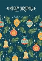 modelo de cartão de belas decorações de natal
