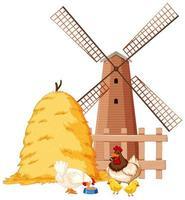 cena de fazenda com animais e moinho de vento