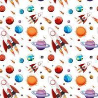 espaço de galáxia colorida e padrão sem emenda de planetas