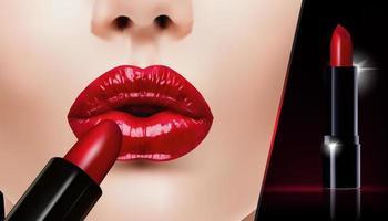 batom vermelho realista para banner de propaganda de maquiagem