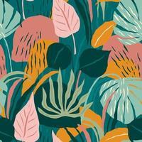 padrão contemporâneo sem costura com folhagem colorida vetor